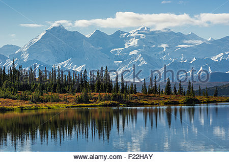 Wonder lake and the Alaska range in Denali national park - Alaska - Stock Image