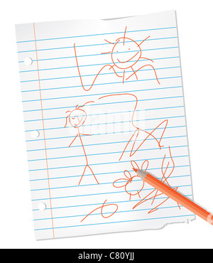 child drawing on lined paper - Stock Image