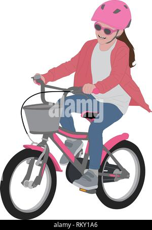 preschooler girl riding bicycle, detailed color illustration - vector - Stock Image