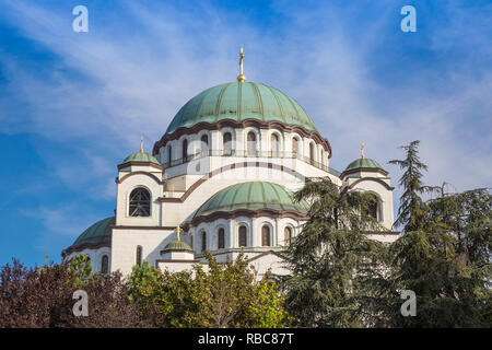 Serbia, Belgrade, St Sava Temple - The largest orthodox cathedral in the world - Stock Image