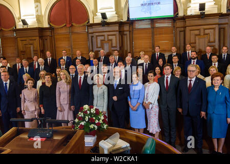 RIGA, LATVIA. 8th of July 2019. Egils Levits, President of Latvia family photo with his family, former Presidents of Latvia, Ministers and Members of Parliament of Latvia, Riga. Credit: Gints Ivuskans/Alamy Live News - Stock Image