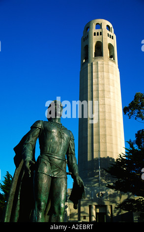 USA CA San Francisco Coit tower Columbus statue San Francisko Coit tower Kolumbus Statue - Stock Image