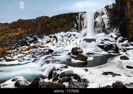 The famous Oxararfoss in Iceland's Thingvellir National Park. - Stock Image
