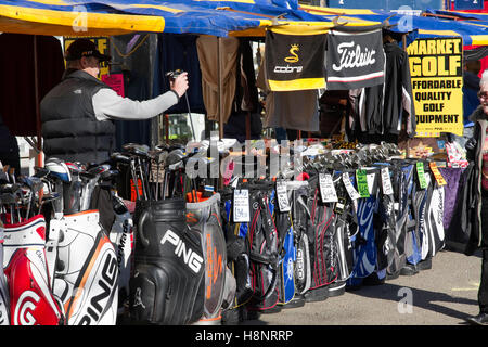 Golf equipment stall at St Albans Market, St Peters Street, St Albans, Hertfordshire, England, UK - Stock Image