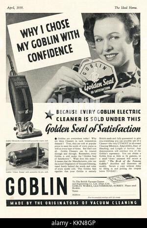 1939 UK Magazine Goblin Hoover Advert - Stock Image