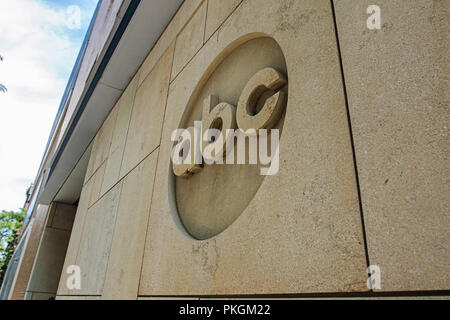 ABC's company logo on the wall of one of their buildings in Manhattan. - Stock Image