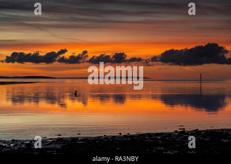 Sunset over the North Wales coast from Deganwy - Stock Image