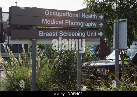 SIgns to various departments at the Sunderland Royal Hospital - Stock Image