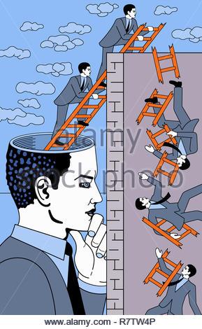 Businessman imagining repeated failure - Stock Image