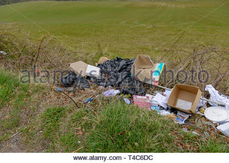 Bo'ness, UK. 16th Apr, 2019. Fly-tipping in a country lane near Bo'ness. Images taken within 1 mile stretch on a picturesque country road near Bo'ness, less than a mile from a Falkirk Council Civic Amenity recycling centre.  Credit: Roger Gaisford/Alamy Live News - Stock Image