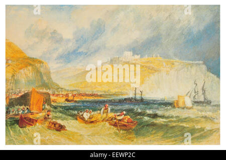 Dover by Joseph Mallord William Turner Castle Steamship white cliffs passenger ship boat vessel ferry fisherman - Stock Image