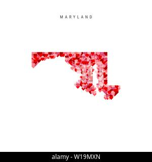 I Love Maryland. Red and Pink Hearts Pattern Vector Map of Maryland Isolated on White Background. - Stock Image