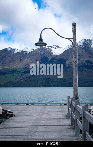 Wharf on Lake Wakatipu, South Island, New Zealand - Stock Image
