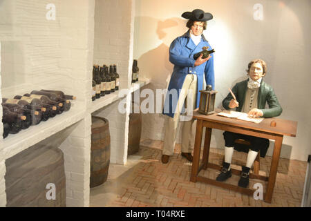 Inside the wine cellars at Hylands House, Writtle, Chelmsford, Essex, UK - Stock Image