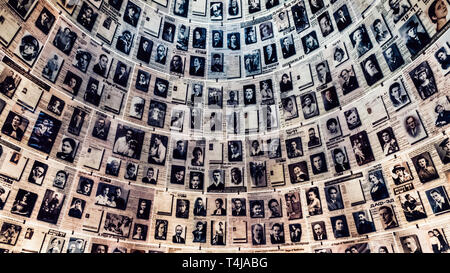 Jerusalem, Israel - February 27th, 2017: The Hall of Names in the Yad Vashem Holocaust Memorial Site in Jerusalem, Israel - Stock Image
