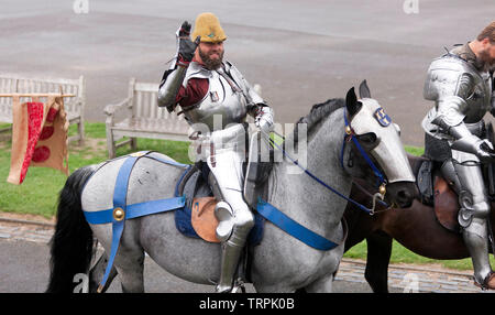 Close-up of a mounted Knight in full Armour  getting ready for an English Heritage Jousting Tournament at Dover Castle,  August 2018 - Stock Image