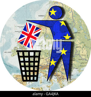 Brexit, Proposed referendum on United Kingdom membership in the European Union, Europe throws Britain into the dustbin, - Stock Image