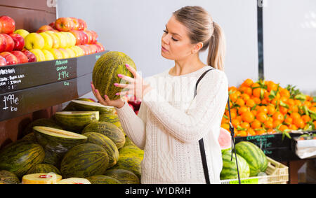 Portrait of smiling female customer choosing melon and fruits on the market - Stock Image