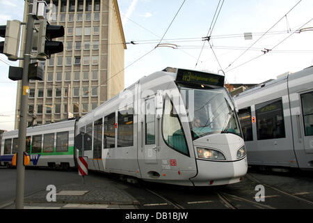 Two so-called RegioTrams pictured in Kassel, Germany, 21 November 2007. The RegioTram is a mixture of a common tram - Stock Image