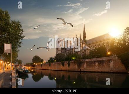 Dawn over Notre Dame de Paris, France - Stock Image