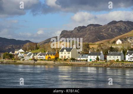 Former fishing village of Dornie on Loch Long in Wester Ross, Highland Region, Scotland - Stock Image