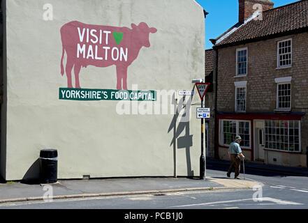 Mural - Visit Maton, Yprkshire's Food Capital, Malton, North Yorkshire, England UK - Stock Image