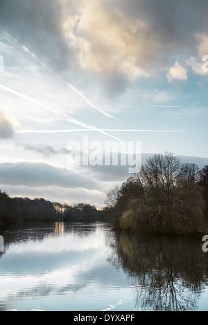 View of the Upper Lake as seen from the Cascade Bridge at the Yorkshire Sculpture Park. - Stock Image