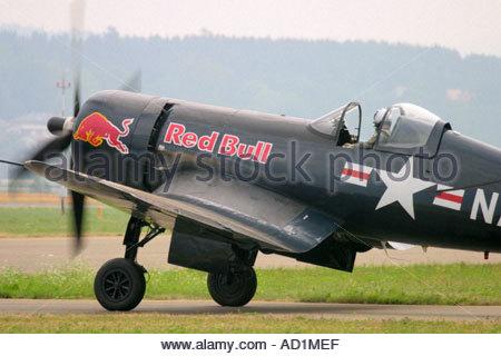 Zeltweg 2005 Airpower 05 airshow Austria Corsair F4U Red Bull - Stock Image
