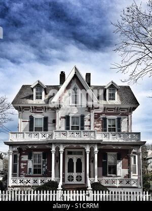 Partially painted Victorian home, Cape May, New Jersey, USA - Stock Image