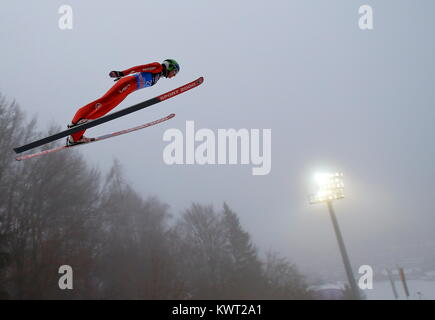 Bischofshofen, Austria. 05th, Jan 2018. Rohads William from the United States competes during a training jump on - Stock Image