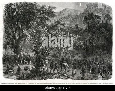 A Brazilian expedition encampment in the forests of Goias, at Rio Verde. An army camp is set up in the distance as a column of soldiers marches into it. - Stock Image