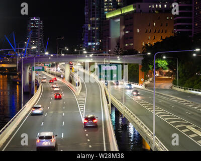 Traffic On An Inner City Motorway In Brisbane - Stock Image