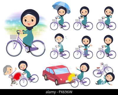 A set of old women wearing hijab riding a city cycle.There are actions on manners and troubles.It's vector art so it's easy to edit. - Stock Image