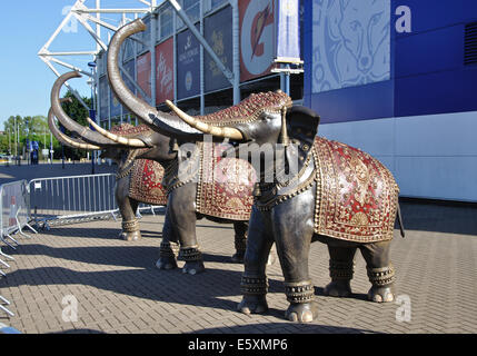 promotional elephants, The King Power Stadium, Leicester City Football Club, Leicester, England, UK - Stock Image