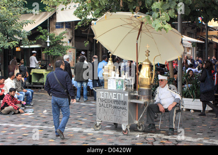 Salepi tea street vendor in Monastiraki, Athens - Stock Image