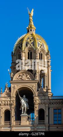 Castle of Schwerin, main entrance over bridge, Schwering, Mecklenburg-Vorpommern, Germany - Stock Image