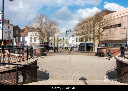 A view down George Street, a pedestrianised street in Luton town centre, Bedfordshire, UK - Stock Image