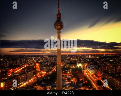 High Angle View Of City Lit Up At Night - Stock Image