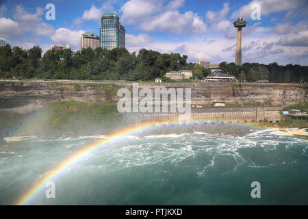 Niagara Falls, USA – August 29, 2018: Beautiful view of Niagara Falls with Rainbow the Canadian side with famous hotels across from the American side, - Stock Image