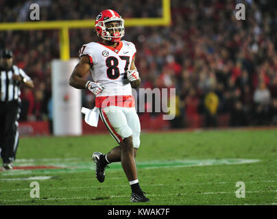 Pasadena, California, USA. 01st Jan, 2018. Georgia Bulldogs tight end Miles McGinty #87 during the 2018 Rose Bowl - Stock Image