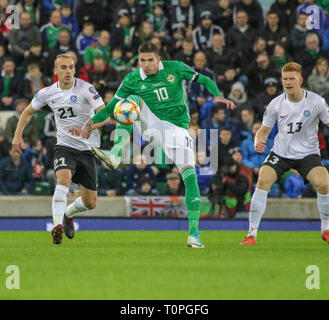 Belfast, UK. 21st Mar 2019. National Football Stadium at Windsor Park, Belfast, Northern Ireland. 21 March 2019. UEFA EURO 2020 Qualifier- Northern Ireland v Estonia. Action from tonight's game. Kyle Lafferty (10) Northern Ireland. Credit: David Hunter/Alamy Live News. - Stock Image