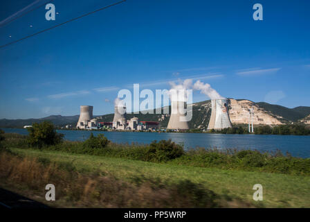 Avignon, FRANCE, EDF French Nuclear Power Center on Rhone RIver - Stock Image