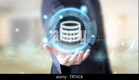 businessman hand with digital technology storage concept - Stock Image