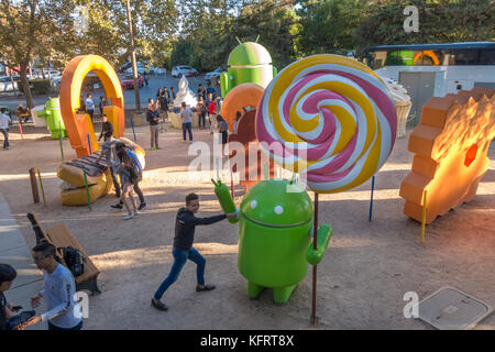 Android Sculpture Garden or Android Lawn Statue park on the Google Campus in Mountain View in Silicon Valley California - Stock Image