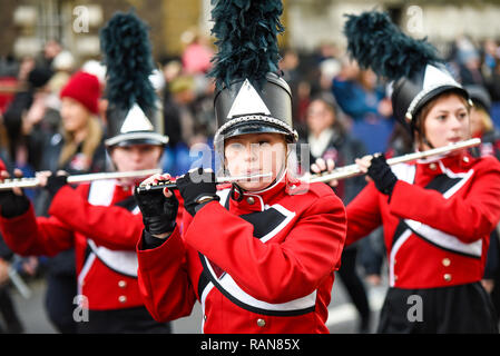 Seabreeze High School Marching 100 band from Florida, USA, at London's New Year's Day Parade, UK. Female band member - Stock Image