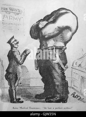 'At last a perfect soldier!' cartoon by Robert Minor published on the cover of 'The Masses' July - Stock Image