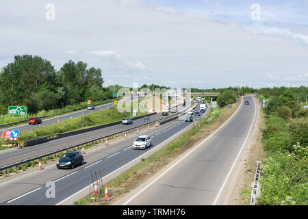 Junction 33 A14 from cycle and pedestrian bridge over A14 - Stock Image