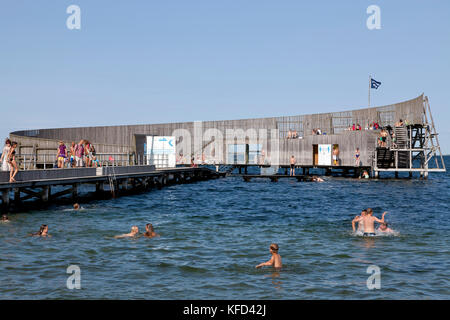 Kastrup Søbad, Sneglen, Kastrup Public Baths, the Snail, on Amager, Copenhagen.  Architect designed bathing - Stock Image