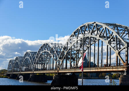 Railway bridge, Riga, Latvia, over the Daugava river - Stock Image