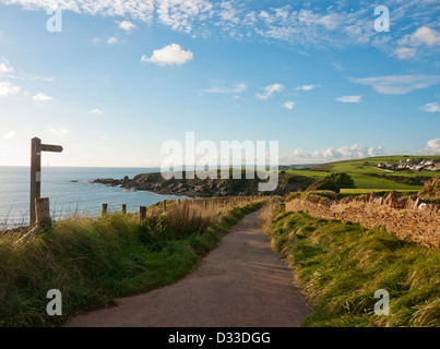 The coastal path at Thurlestone in South Devon - Stock Image